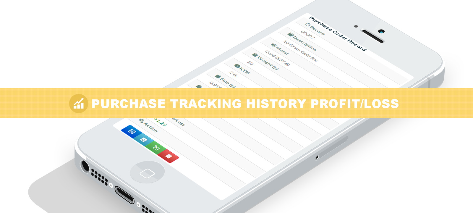 Precious metals purchase tracking history profit and loss access from anywhere application.