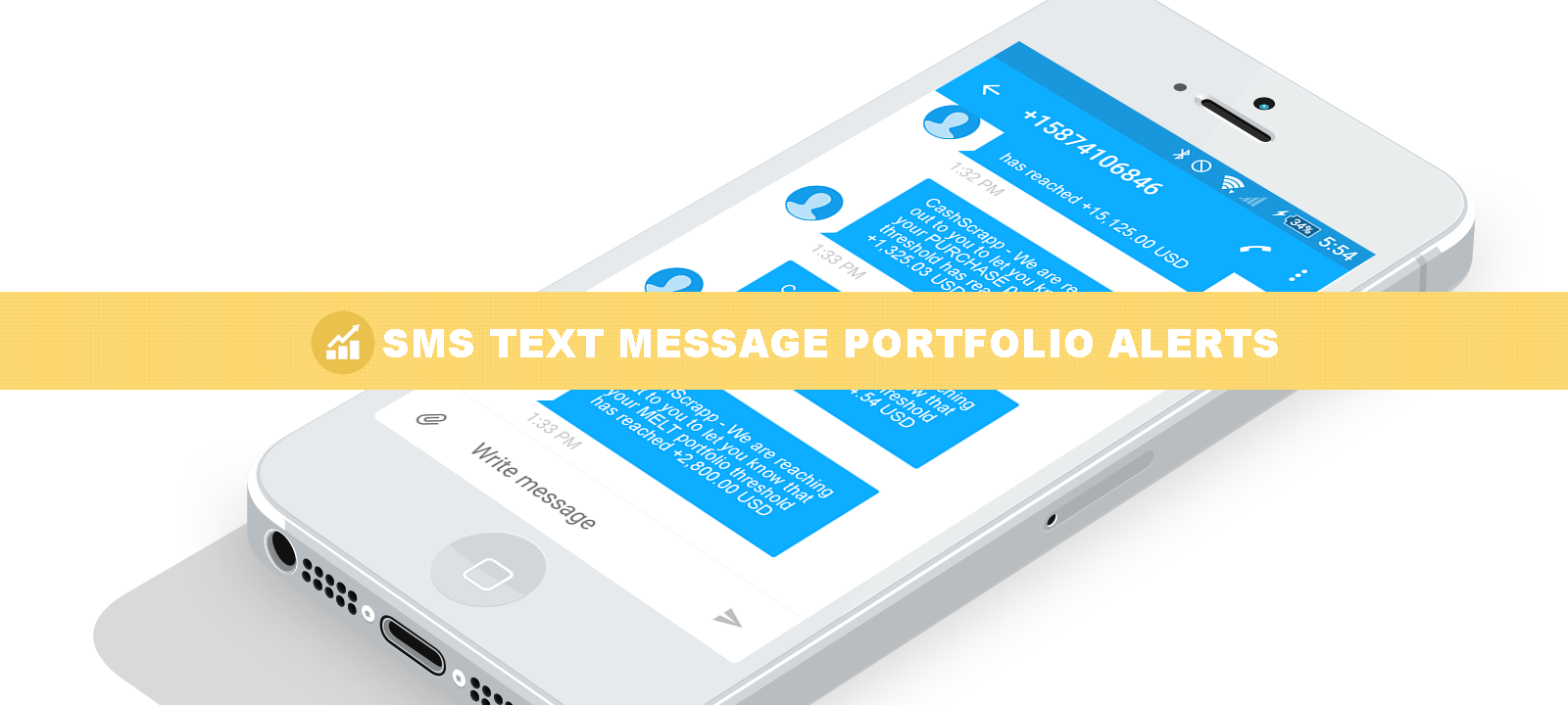 SMS text message alerts when your portfolio hits your configured threshold.